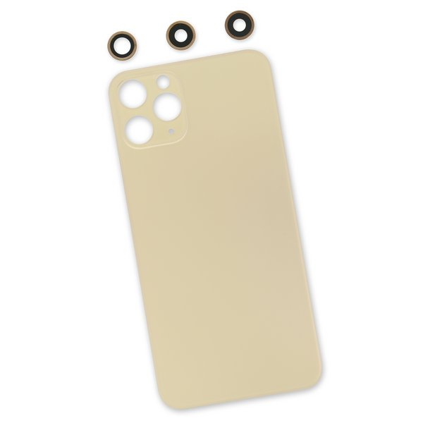 iPhone 11 Pro Aftermarket Blank Rear Glass Panel with Lens Covers / New / Gold