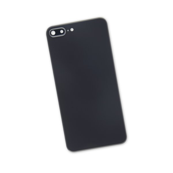 iPhone 8 Plus Aftermarket Blank Rear Glass Panel with Camera Lens / Black