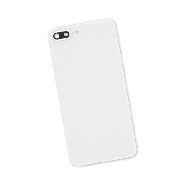 iPhone 8 Plus Aftermarket Blank Rear Glass Panel with Camera Lens / White