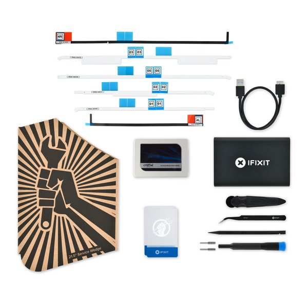 "iMac Intel 21.5"" (Late 2012-2019) SSD Upgrade Bundle / Crucial 500 GB / v4 Cardboard Wedge, USB 3.0 Metal Drive Enclosure, and Adhesive Strips with Mic Notch"