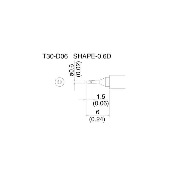 T30 Series tips fit Hakko FM-2032 Soldering Iron / T30-D06 / Tiny Chisel Tip