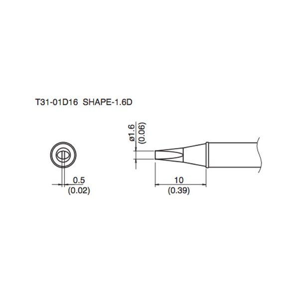 T31 Series Hakko Tips fit FX-100 Soldering Station / Chisel / T31-02D16