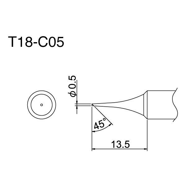Hakko T18 Series Tips / .5 mm 45 Degree / T18-C05