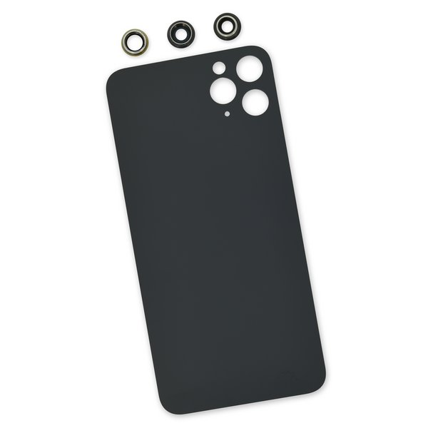 iPhone 11 Pro Max Aftermarket Blank Rear Glass Panel with Lens Covers / Black
