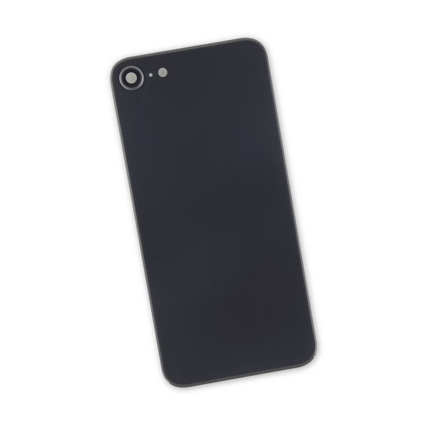 iPhone 8 Aftermarket Blank Rear Glass Panel with Camera Lens / Black
