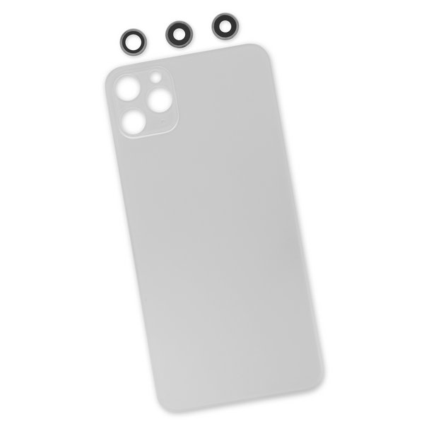 iPhone 11 Pro Max Aftermarket Blank Rear Glass Panel with Lens Covers / White