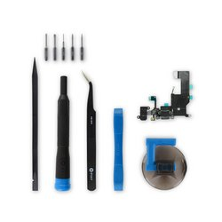 iPhone 5 Lightning Connector and Headphone Jack / New / Black / Fix Kit