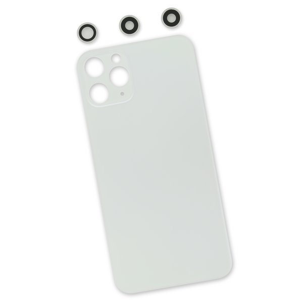 iPhone 11 Pro Aftermarket Blank Rear Glass Panel with Lens Covers / New / White