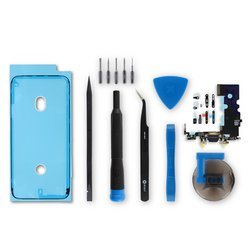 iPhone 8 Lightning Connector Assembly / Black / Fix Kit