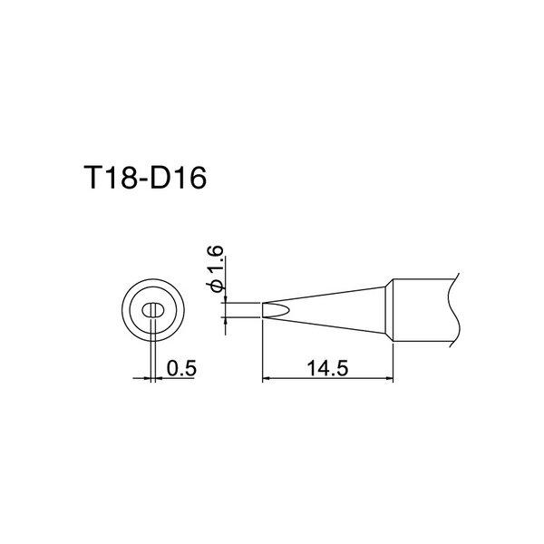Hakko T18 Series Tips / Chisel / T18-D16